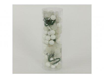 Ozdoby skleněné na drátku, bílé VAK021-bila