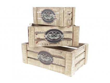 Dřevěné bedýnky s dekoračním štítkem, sada 3 kusů OK6337-ST