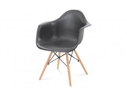 Jídelní židle, tmavě šedý plast, masiv buk, přírodní odstín CT-719 GREY1