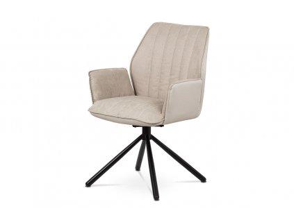 Otočná konferenční židle, potah cappuccino ekokůže/látka, černá kovová podnož