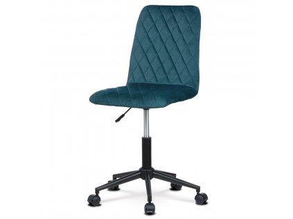 Kancelářská židle dětská, potah modrá sametová látka, výškově nastavitelná