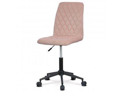 Kancelářská židle dětská, potah růžová sametová látka, výškově nastavitelná