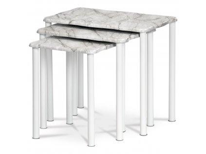 Odkládací stolky, set 3 ks, dekor šedobílý mramor, kovové nohy, bílý matný lak