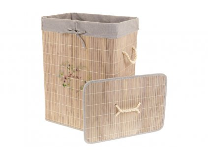 Koš prádelní z bambusu, obdélník, barva šedá s potiskem KD4441