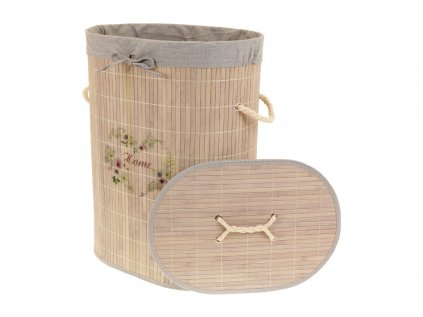 Koš prádelní z bambusu, ovál, barva šedá s potiskem KD4442