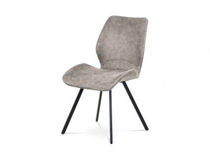 Jídelní židle, lanýžová látka vintage, kov černý mat HC-440 LAN3