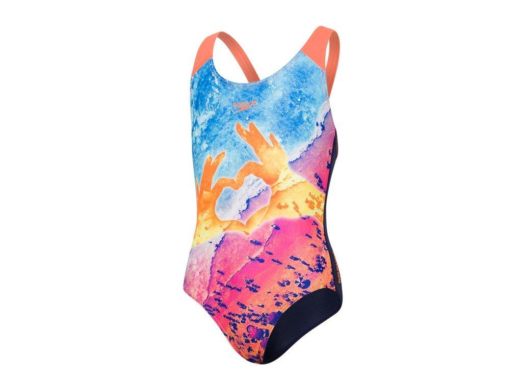speedo sun pebble placement digital splashback girl navy fluo orange turquoise small product