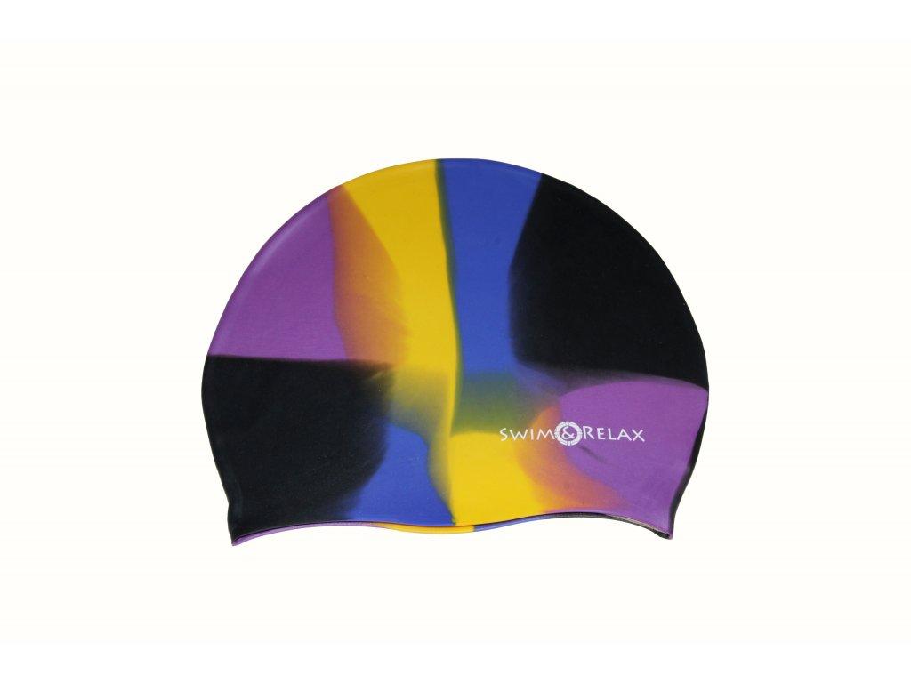 Plavecká čepice SwiMi Multicolor - černá, fialová, žlutá