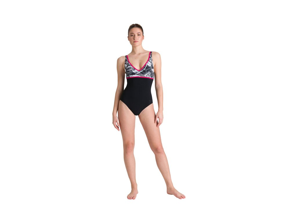 arena jane wing back one piece swimsuit women black black multi calypso 5