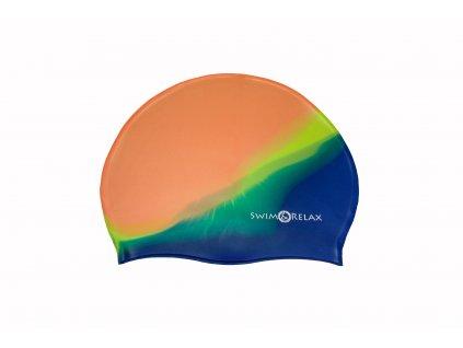 Plavecká čepice Multicolor - oranžová, zelená, modrá