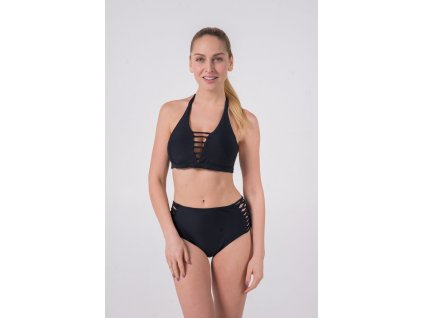 Solid Black Strappy Halter / Cheeky High Waisted (Velikost XL, Díl Vrchní)