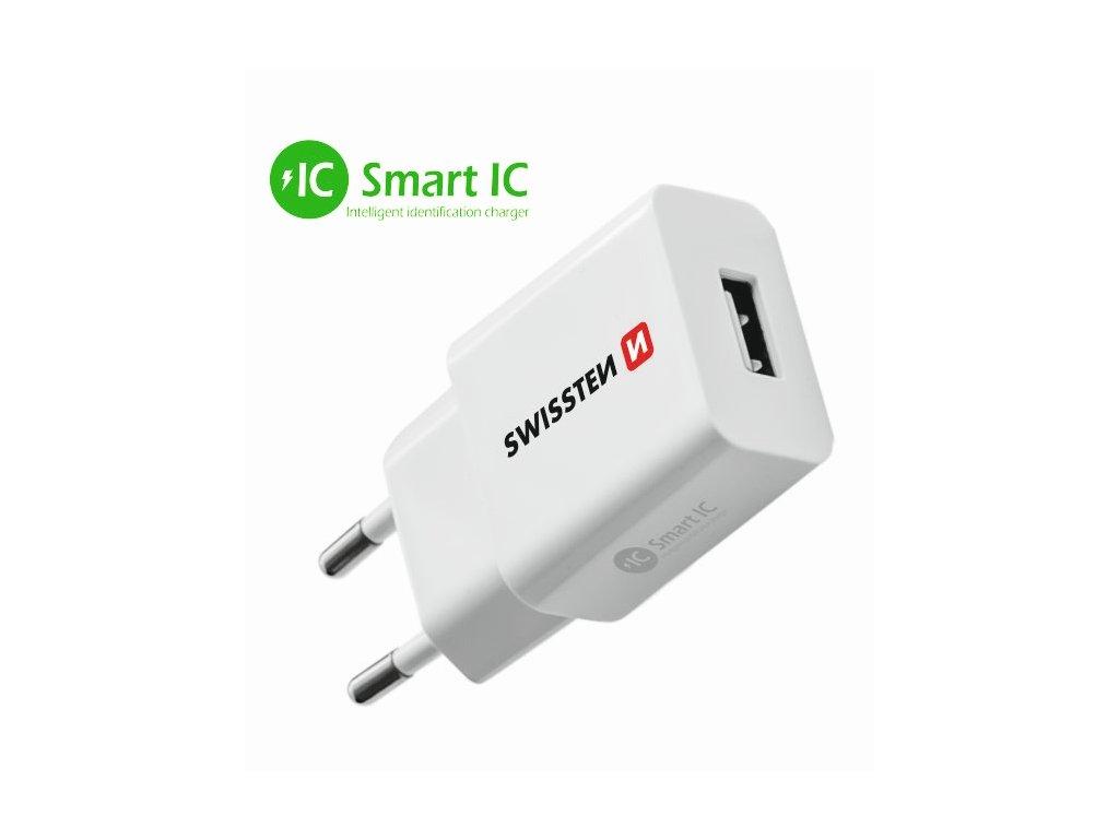 SWISSTEN SÍŤOVÝ ADAPTÉR SMART IC 1x USB 2,1A POWER BÍLÝ  + Dárek: Doprava Zásilkovnou ZDARMA