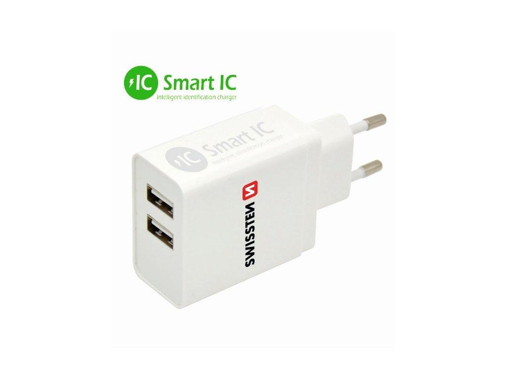 SWISSTEN SÍŤOVÝ ADAPTÉR SMART IC 2x USB 3,1A POWER BÍLÝ  + Dárek: Doprava Zásilkovnou ZDARMA