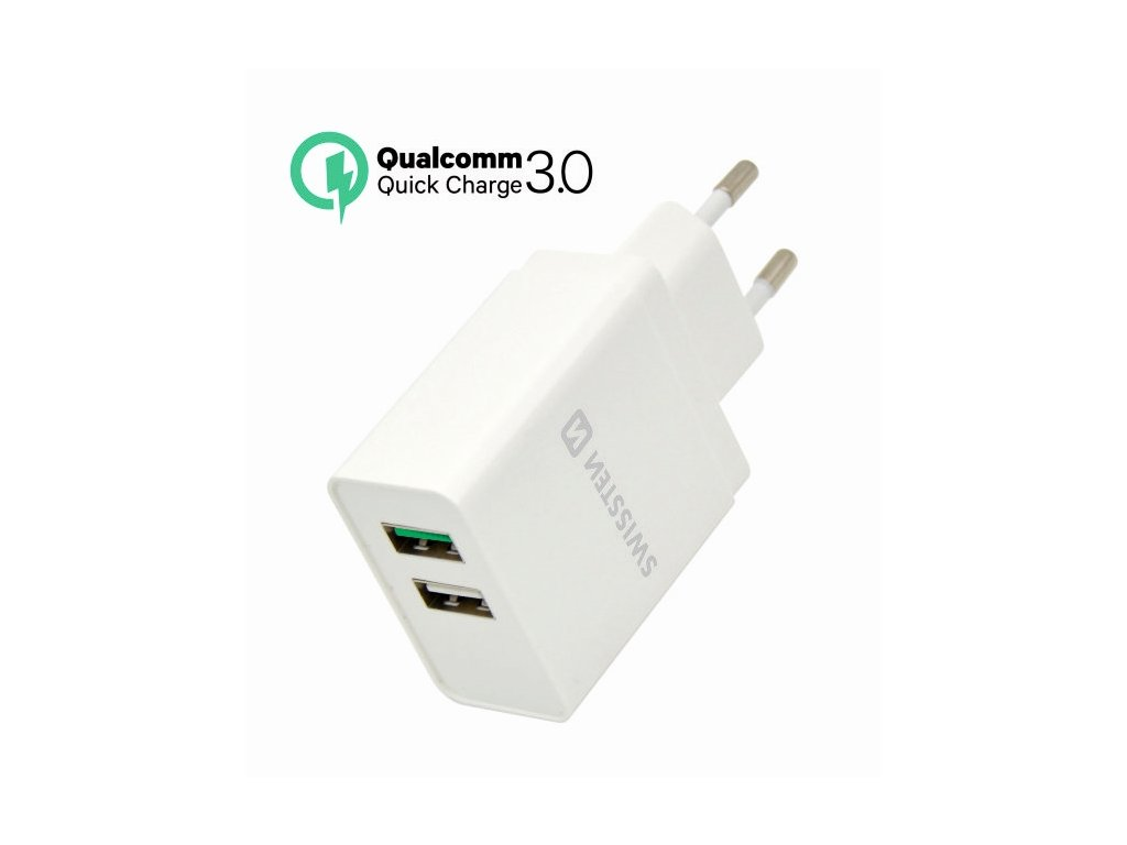 SWISSTEN SÍŤOVÝ ADAPTÉR QUALCOMM 3.0 QUICK CHARGE + SMART IC 2x USB 30W POWER BÍLÝ