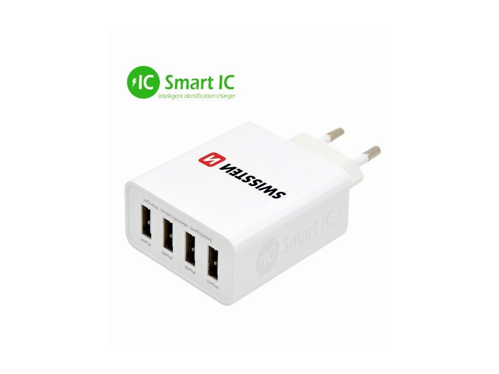 SWISSTEN SÍŤOVÝ ADAPTÉR SMART IC 4x USB 5A POWER BÍLÝ  + Dárek: Doprava Zásilkovnou ZDARMA