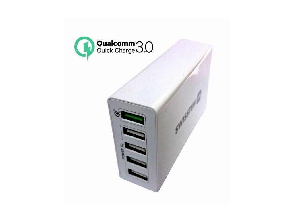 SWISSTEN síťový adaptér Qualcomm 3.0 Quick Charge + Smart IC 5x USB 50 W power bílý  + Dárek: Doprava Zásilkovnou ZDARMA