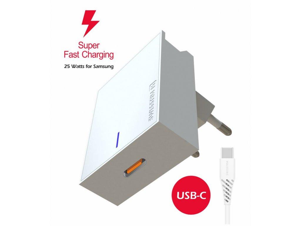 SWISSTEN síťový adaptér pro Samsung Super Fast Charging 25 W + datový kabel USB-C / USB-C 1,2 m bílý  + Dárek: Doprava Zásilkovnou ZDARMA