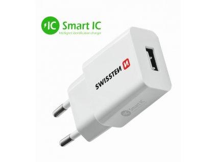 SWISSTEN síťový adaptér Smart IC 1x USB 2,1 A power bílý  + Dárek: Doprava Zásilkovnou ZDARMA
