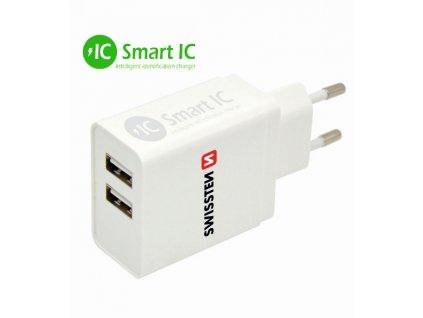 SWISSTEN síťový adaptér Smart IC 2x USB 3,1 A power bílý  + Dárek: Doprava Zásilkovnou ZDARMA