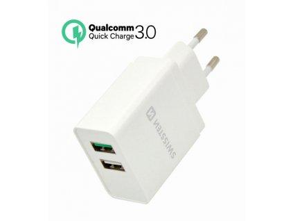 SWISSTEN SÍŤOVÝ ADAPTÉR QUALCOMM 3.0 QUICK CHARGE + SMART IC 2x USB 30W POWER BÍLÝ  + Dárek: Doprava Zásilkovnou ZDARMA