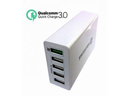 SWISSTEN SÍŤOVÝ ADAPTÉR QUALCOMM 3.0 QUICK CHARGE + SMART IC 5x USB 50W POWER BÍLÝ  + Dárek: Doprava Zásilkovnou ZDARMA