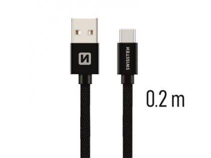 SWISSTEN datový kabel textile USB / USB-C 0,2 m  + Dárek: Doprava Zásilkovnou ZDARMA