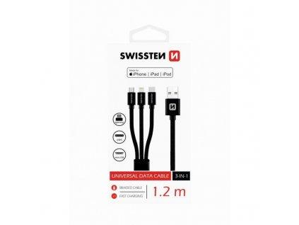 datovy kabel swissten textile 3in1 mfi 12 m cerny