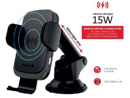 SWISSTEN držák do auta s bezdrátovým nabíjením 15 W S-Grip W2-HK3  + Dárek: Doprava Zásilkovnou ZDARMA
