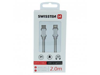 SWISSTEN datový kabel textile USB-C / Lightning 2 m