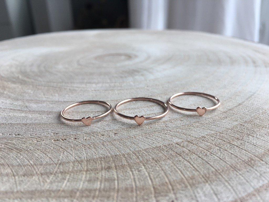 Rose Gold filled prsten Heart (Velikost 9/60)