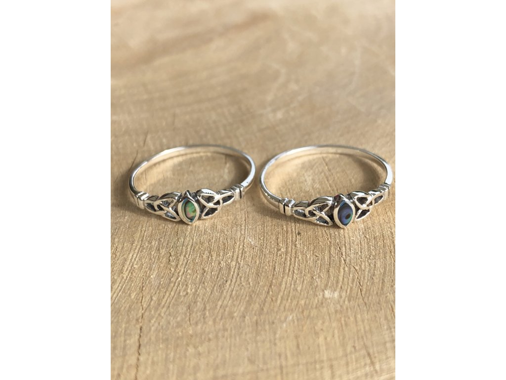 Stříbrný prstýnek Celtic Abalone