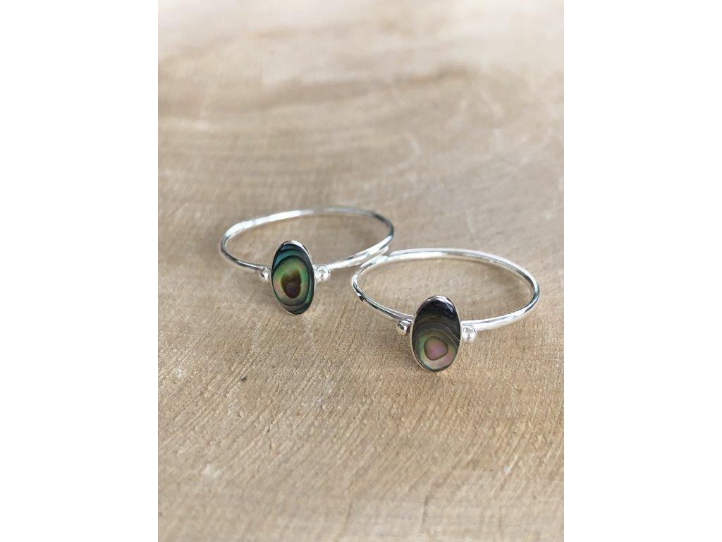 Stříbrný prstýnek Shell Abalone Oval (Velikost 9/60)
