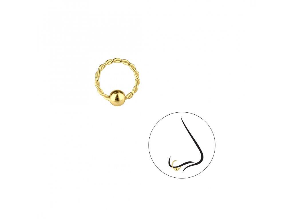 4055 zlaty twisted krouzek do nosu s kulickou 8mm