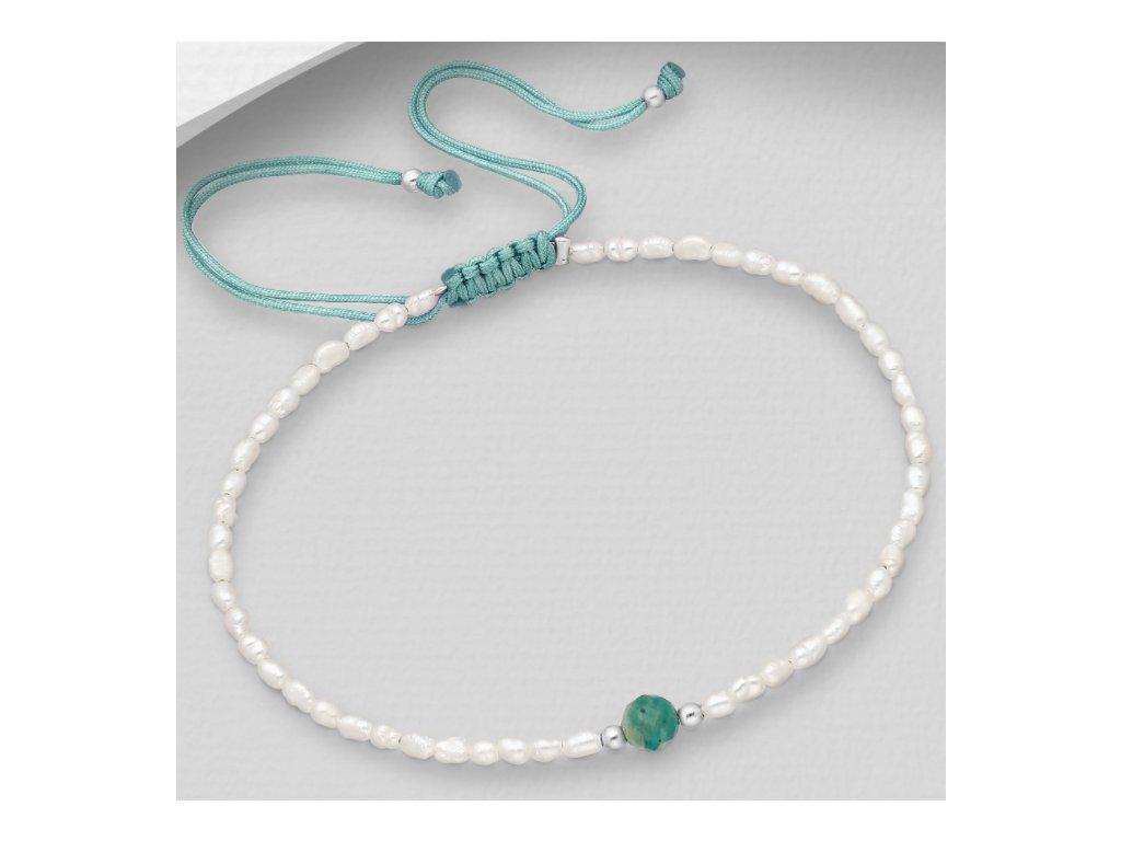 Šňůrkový náramek s perlami