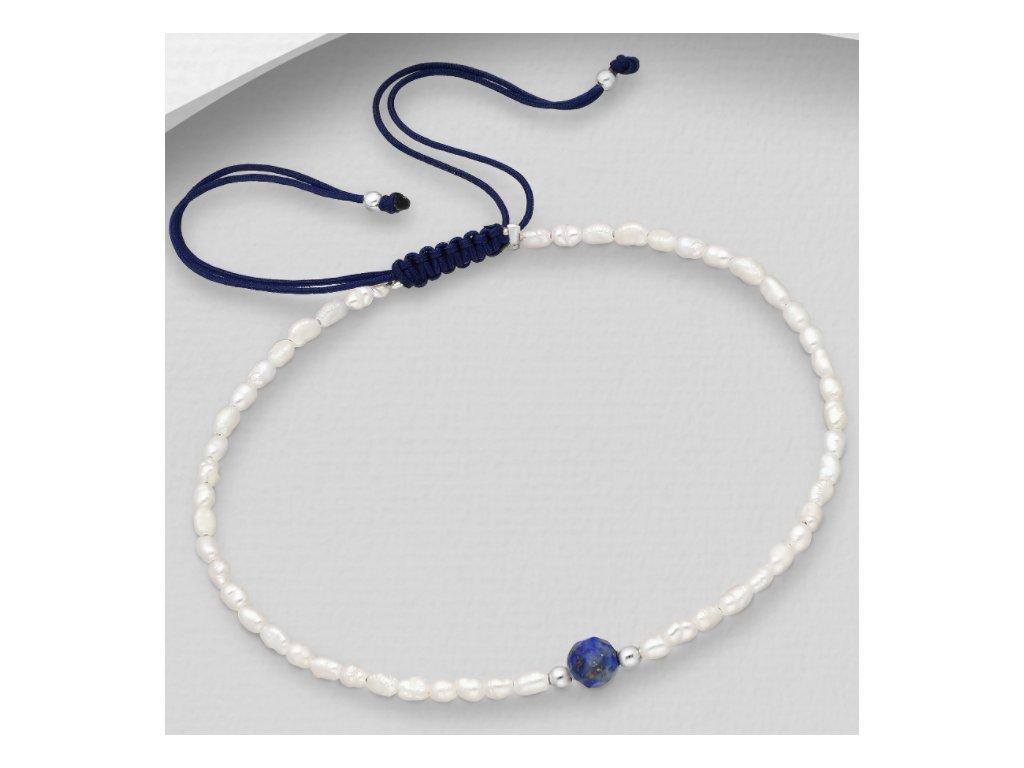 šnůřkový náramek s perlami