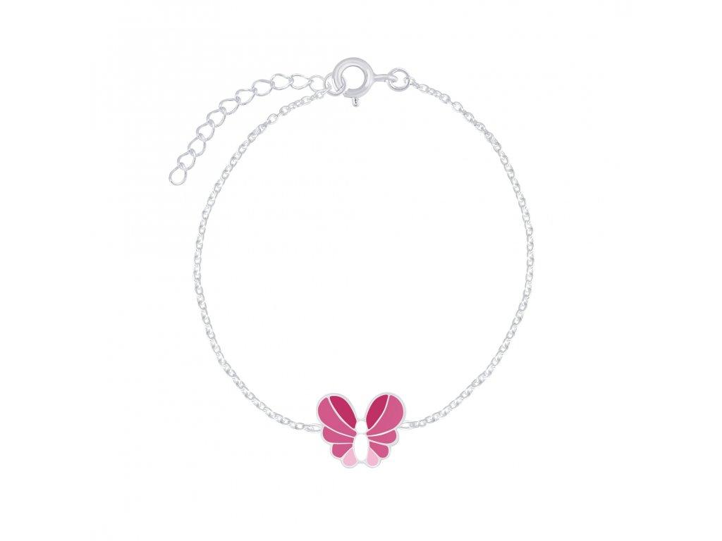 Stříbrný náramek s růžovo-bílým motýlkem  Ag 925/1000