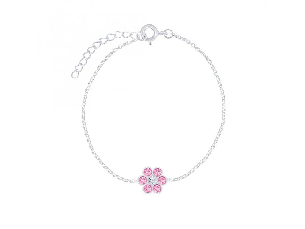 Stříbrný náramek s růžovou květinkou  Ag 925/1000