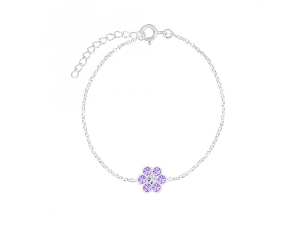 Stříbrný náramek s fialovou květinkou  Ag 925/1000