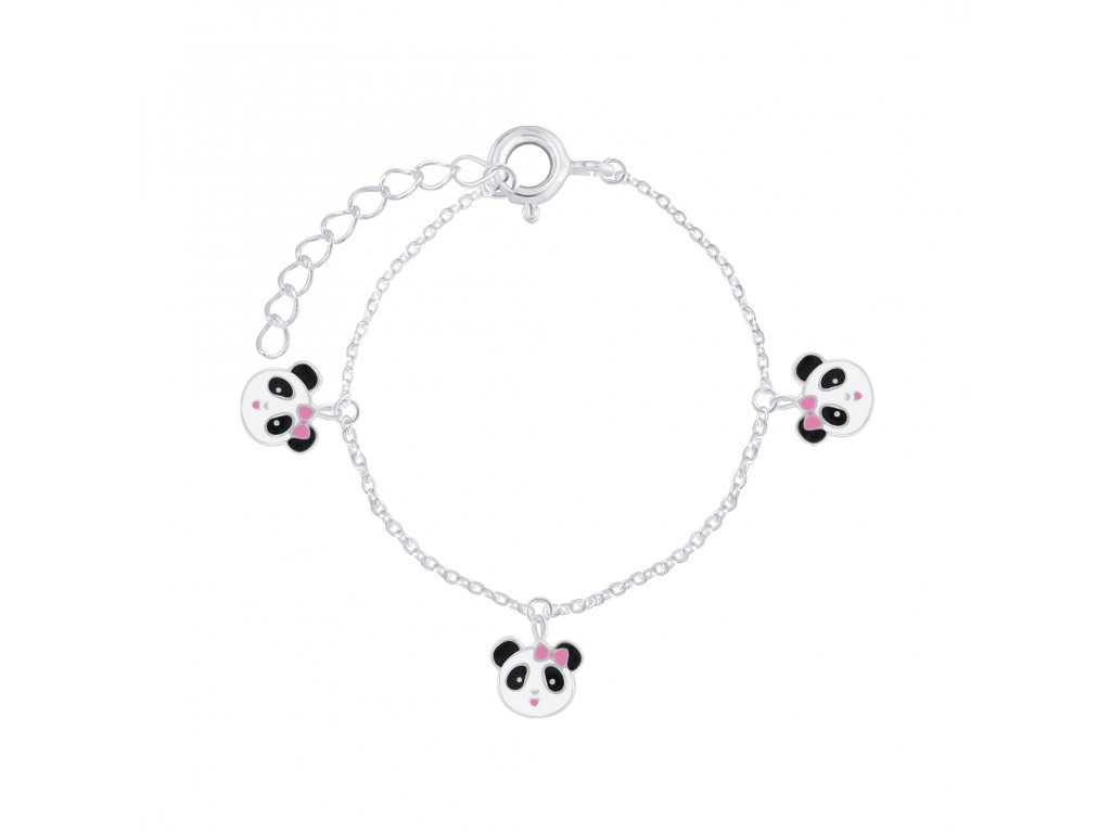Stříbrný náramek s Pandami  Ag 925/1000