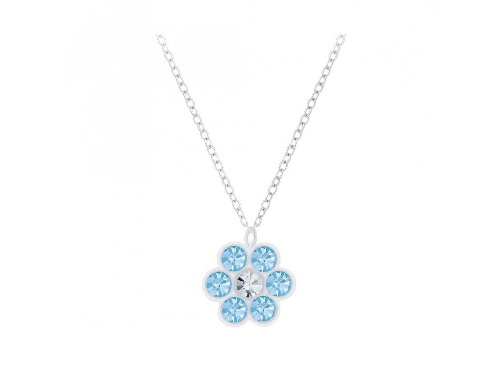 Dětský stříbrný řetízek modrá květinka  Ag 925/1000