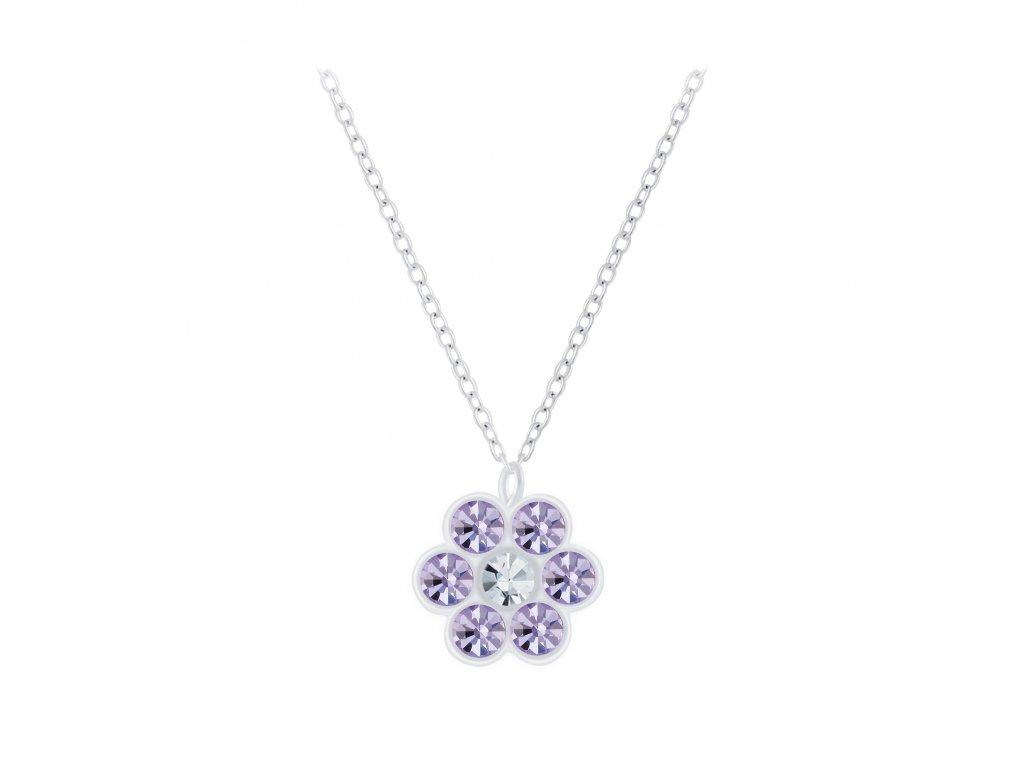 Dětský stříbrný řetízek fialová květinka  Ag 925/1000