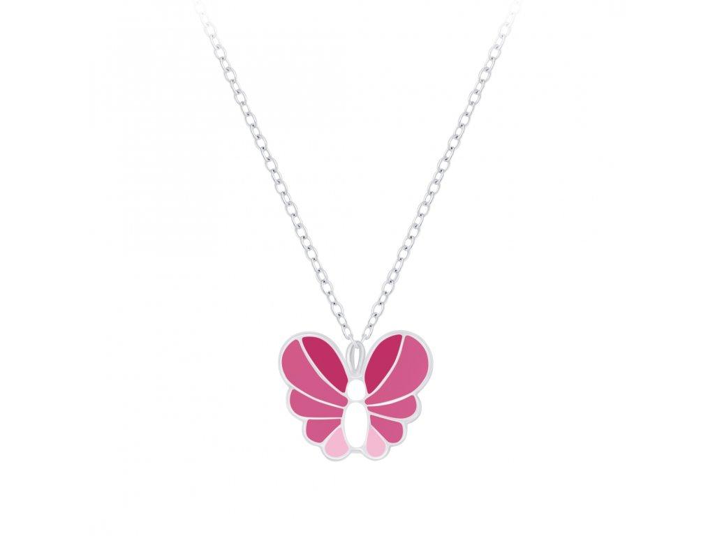 Dětský stříbrný řetízek s růžovo-bílým motýlkem  Ag 925/1000