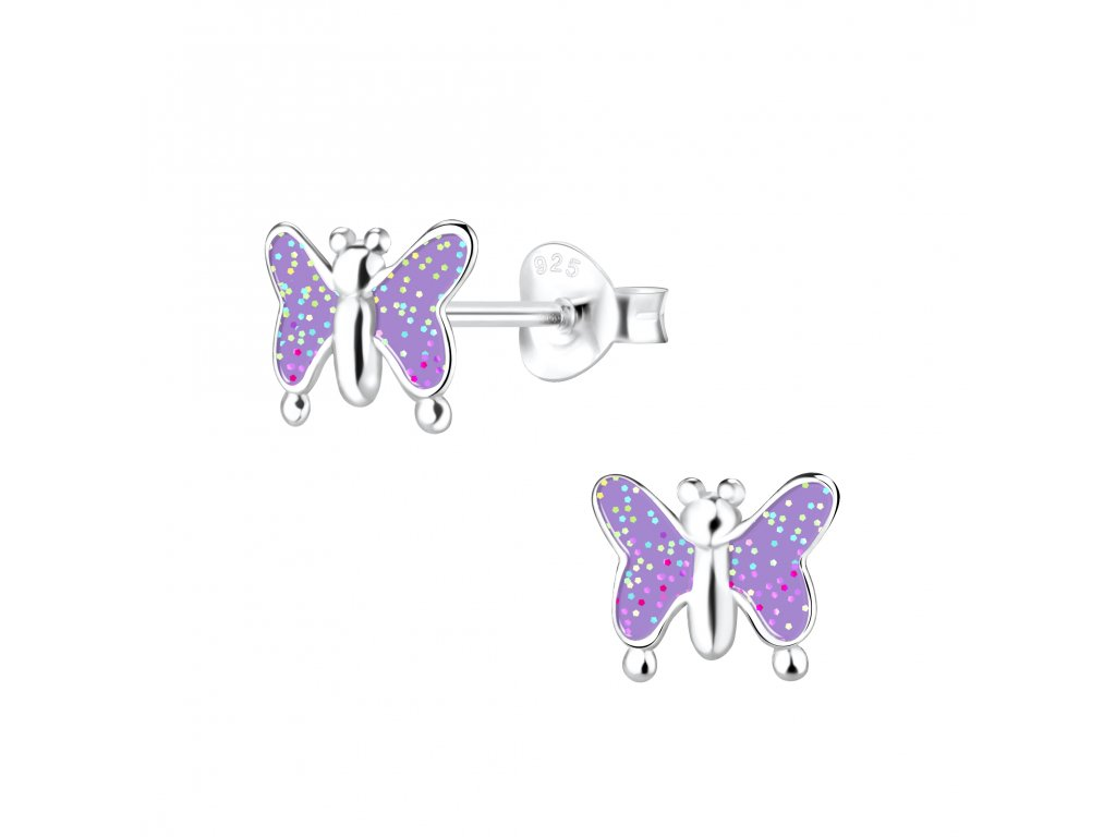 Dětské stříbrné náušnice fialový motýl  Ag 925/1000