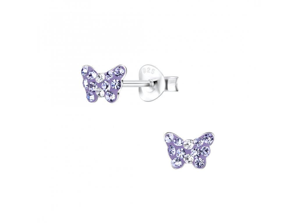 Dětské stříbrné náušnice motýlek s fialovými krystaly  Ag 925/1000