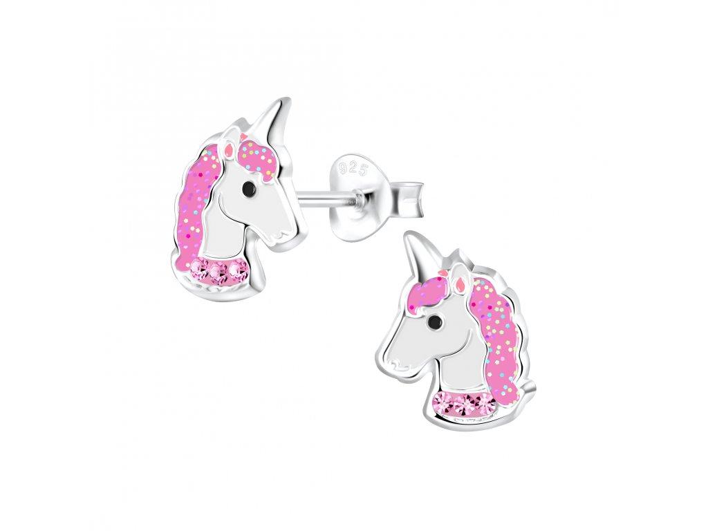 Dětské stříbrné náušnice jednorožec s růžovými krystaly  Ag 925/1000