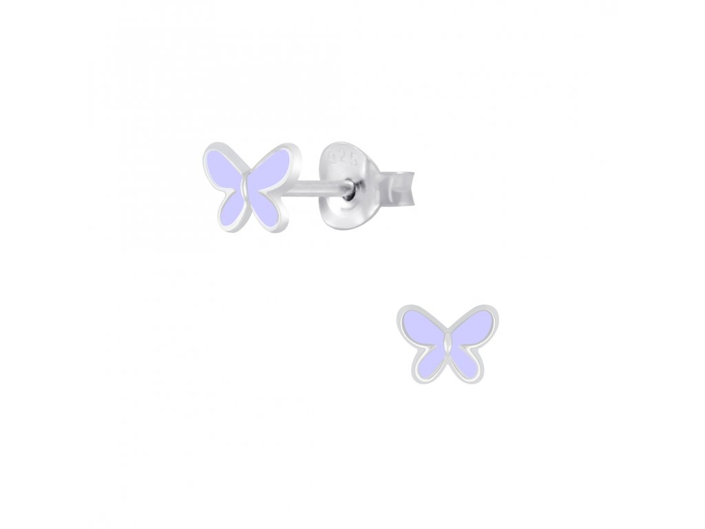Dětské stříbrné náušnice motýlek fialový  Ag 925/1000