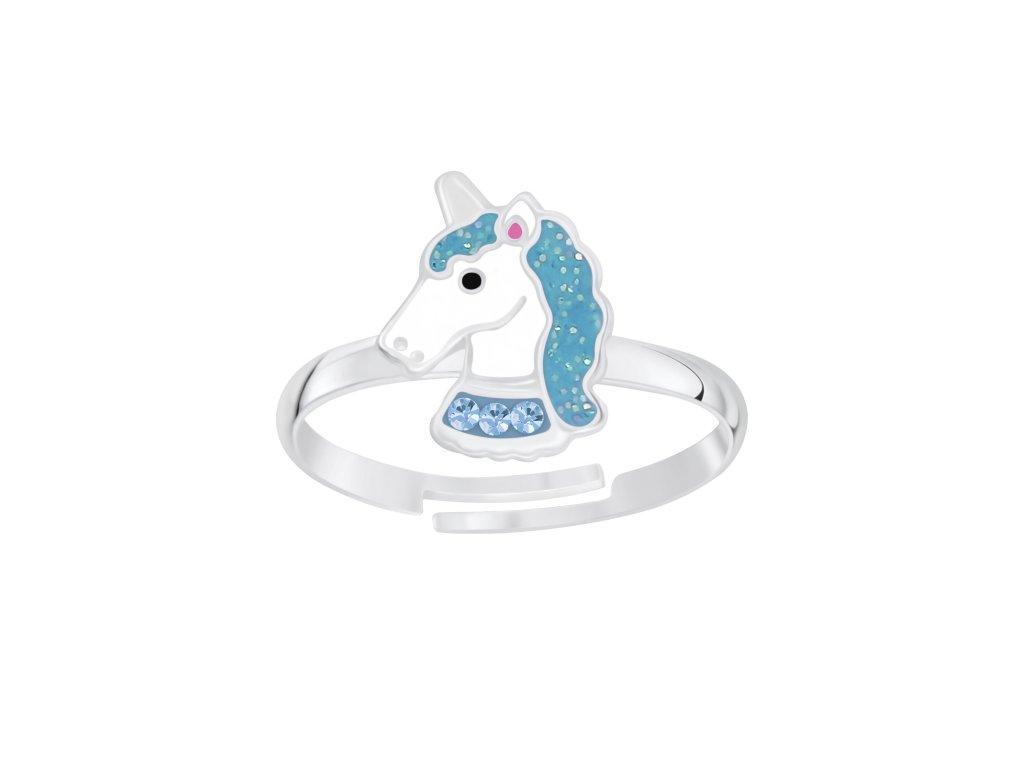 Dětský stříbrný prstýnek modrý jednorožec  Ag 925/1000