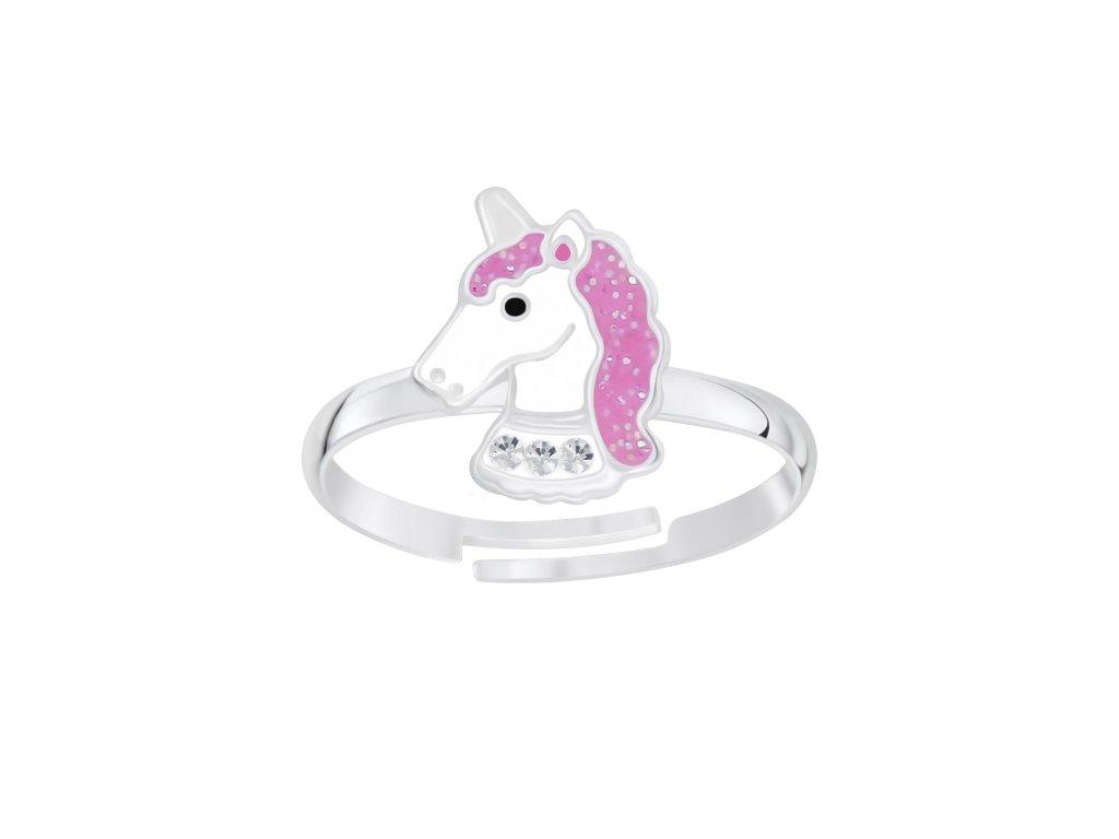 Dětský stříbrný prstýnek růžový jednorožec  Ag 925/1000