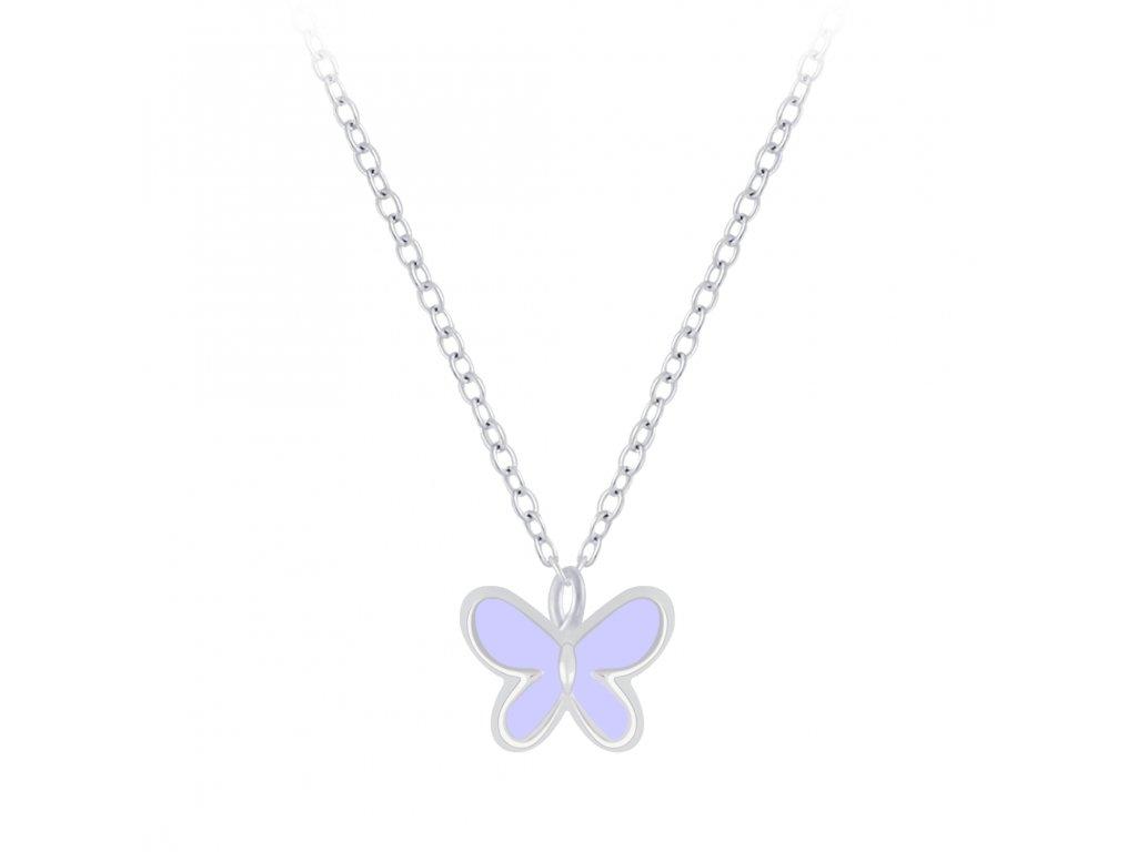 Stříbrný řetízek s fialovým motýlkem  Ag 925/1000