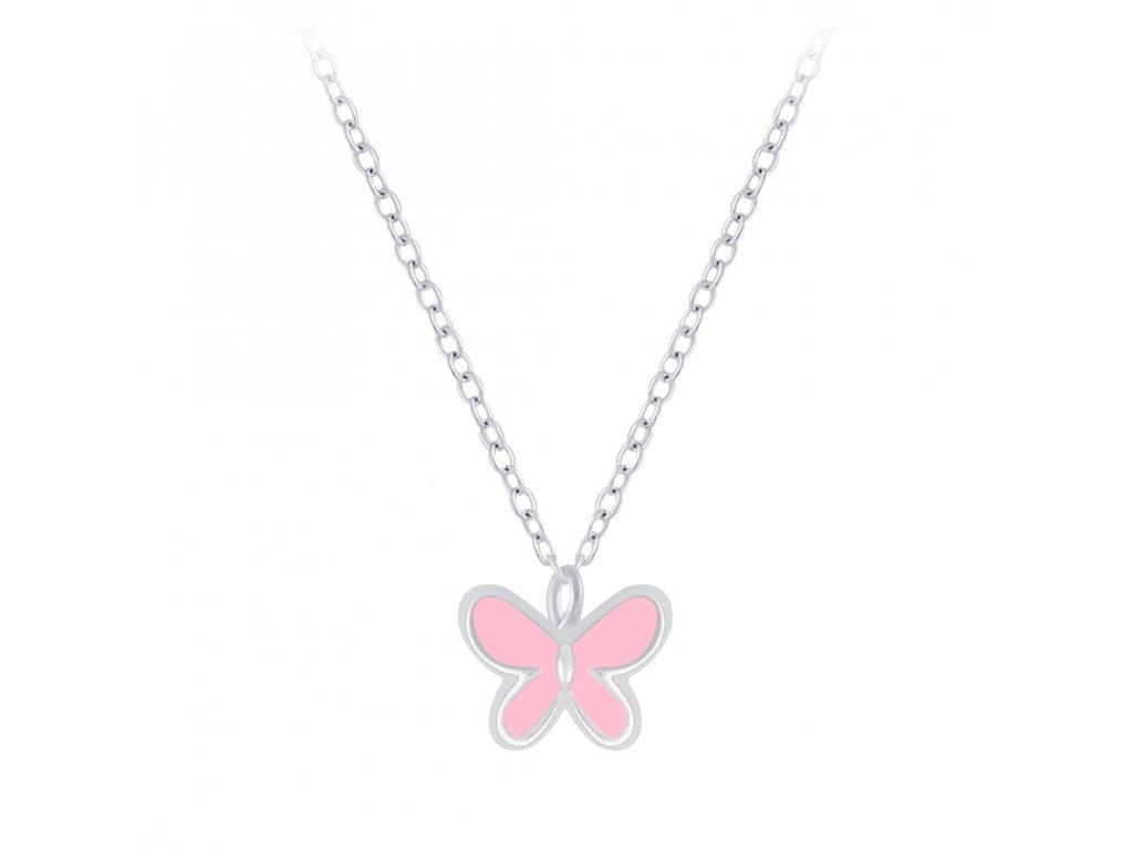 Stříbrný řetízek s růžovým motýlkem  Ag 925/1000